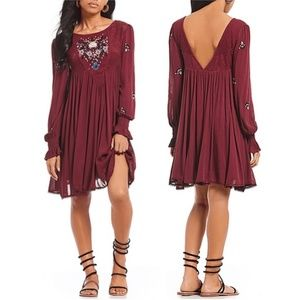 Free People Mohave Embroidered Purple Dress